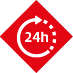 Kälte-Systeme Icon Notdient dargestellt als 24-Stunden Zeichen