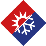 Kälte-Systeme Icon Kälte dargestellt als Schneeflocke und Sonne