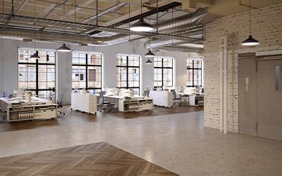 Büroraum ausgestattet mit den Lüftungsanlagen von Hack
